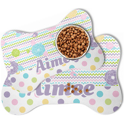 Girly Girl Bone Shaped Dog Food Mat (Personalized)