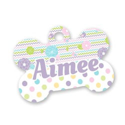 Girly Girl Bone Shaped Dog Tag (Personalized)
