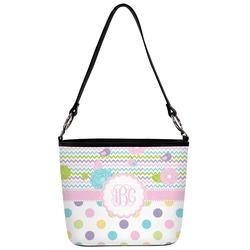 Girly Girl Bucket Bag w/ Genuine Leather Trim (Personalized)