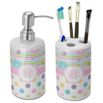 Girly Girl Ceramic Bathroom Accessories Set (Personalized)