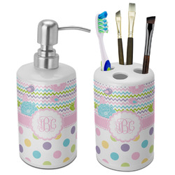 Girly Girl Bathroom Accessories Set (Ceramic) (Personalized)