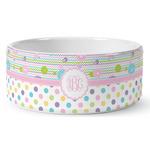 Girly Girl Ceramic Dog Bowl (Personalized)