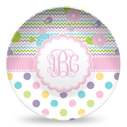 Girly Girl Microwave Safe Plastic Plate - Composite Polymer (Personalized)