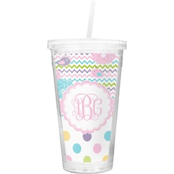 Girly Girl Double Wall Tumbler with Straw (Personalized)