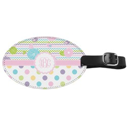 Girly Girl Genuine Leather Oval Luggage Tag (Personalized)