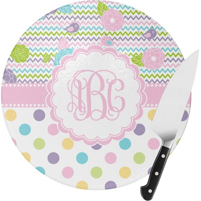 Girly Girl Round Glass Cutting Board - Medium (Personalized)