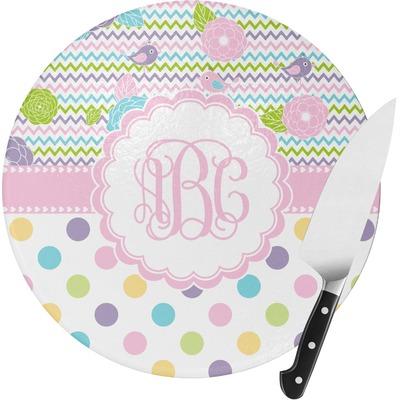 Girly Girl Round Glass Cutting Board - Medium (Personalized)