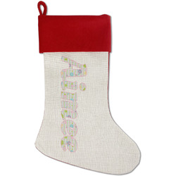 Girly Girl Red Linen Stocking (Personalized)