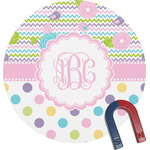 Girly Girl Round Magnet (Personalized)