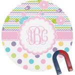 Girly Girl Round Fridge Magnet (Personalized)