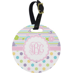 Girly Girl Round Luggage Tag (Personalized)