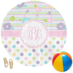 Girly Girl Round Beach Towel (Personalized)