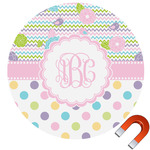Girly Girl Round Car Magnet (Personalized)