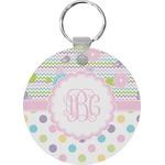 Girly Girl Round Keychain (Personalized)