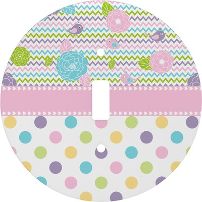 Girly Girl Round Light Switch Cover (Personalized)