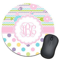 Girly Girl Round Mouse Pad (Personalized)