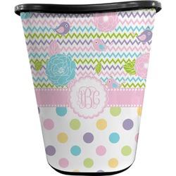 Girly Girl Waste Basket - Double Sided (Black) (Personalized)