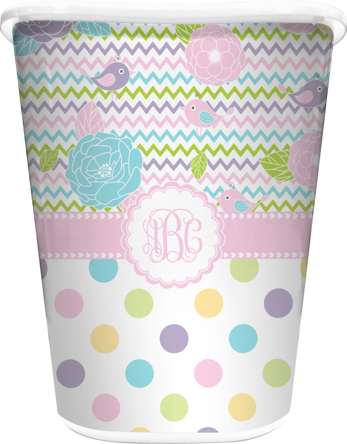 Girly girl waste basket white personalized you for Girly bathroom accessories