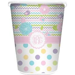 Girly Girl Waste Basket - Single Sided (White) (Personalized)