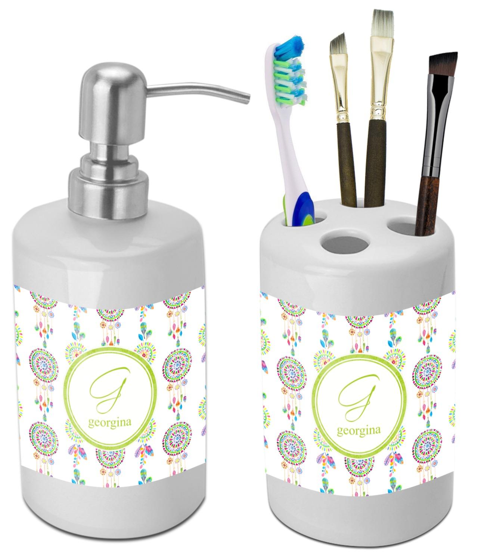 Dreamcatcher Bathroom Accessories Set (Ceramic) (Personalized ... on