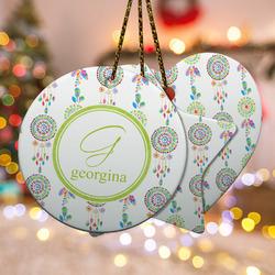 Dreamcatcher Ceramic Ornament w/ Name and Initial