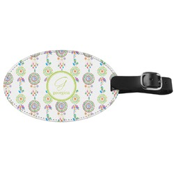 Dreamcatcher Genuine Leather Oval Luggage Tag (Personalized)