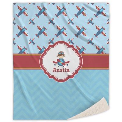 "Airplane Theme Sherpa Throw Blanket - 50""x60"" (Personalized)"
