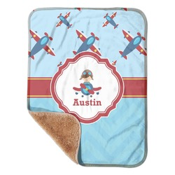 "Airplane Theme Sherpa Baby Blanket 30"" x 40"" (Personalized)"