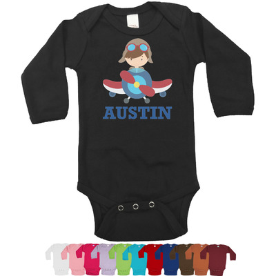 Airplane Theme Long Sleeves Bodysuit - 12 Colors (Personalized)