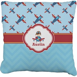 Airplane Theme Faux-Linen Throw Pillow (Personalized)