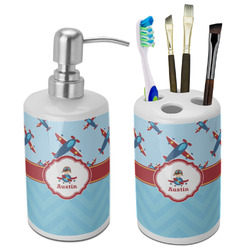 Airplane Theme Ceramic Bathroom Accessories Set (Personalized)