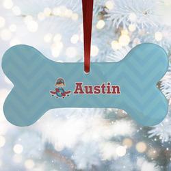 Airplane Theme Ceramic Dog Ornaments w/ Name or Text