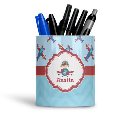 Airplane Theme Ceramic Pen Holder