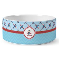Airplane Theme Ceramic Pet Bowl (Personalized)
