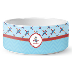 Airplane Theme Ceramic Pet Bowl (Personalized)