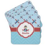 Airplane Theme Cork Coaster - Set of 4 w/ Name or Text