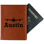 Airplane Theme Leatherette Passport Holder (Personalized)
