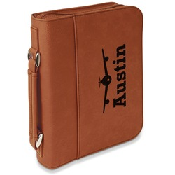 Airplane Theme Leatherette Bible Cover with Handle & Zipper - Large- Single Sided (Personalized)
