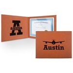 Airplane Theme Leatherette Certificate Holder (Personalized)