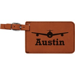 Airplane Theme Leatherette Luggage Tag (Personalized)