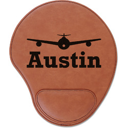 Airplane Theme Leatherette Mouse Pad with Wrist Support (Personalized)