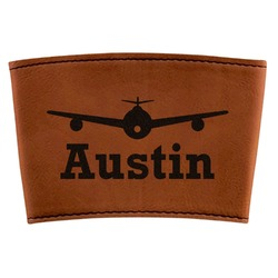 Airplane Theme Leatherette Cup Sleeve (Personalized)