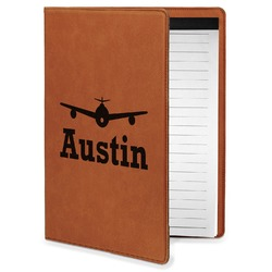 Airplane Theme Leatherette Portfolio with Notepad - Small - Single Sided (Personalized)
