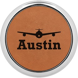 Airplane Theme Leatherette Round Coaster w/ Silver Edge - Single or Set (Personalized)
