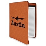 Airplane Theme Leatherette Zipper Portfolio with Notepad (Personalized)