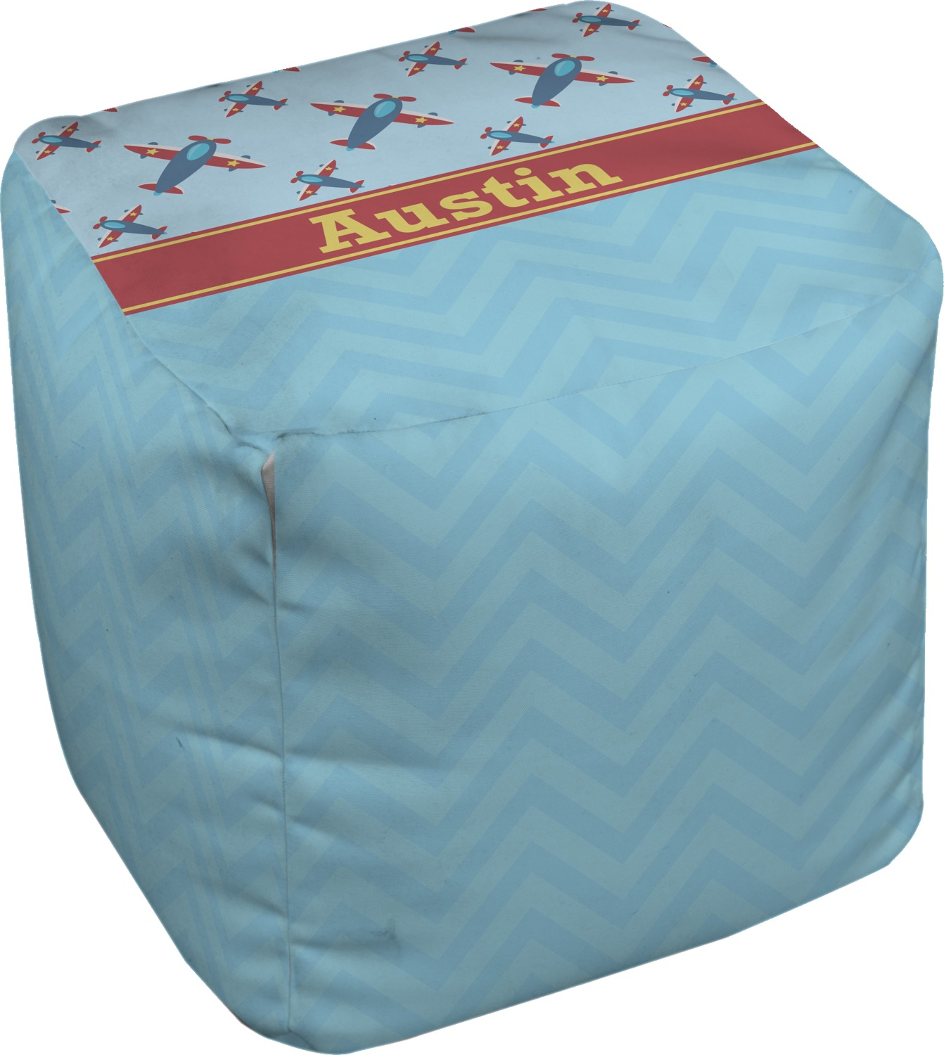 airplane theme cube pouf ottoman 13 personalized. Black Bedroom Furniture Sets. Home Design Ideas