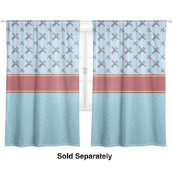 "Airplane Theme Curtains - 20""x84"" Panels - Lined (2 Panels Per Set) (Personalized)"