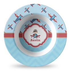 Airplane Theme Plastic Bowl - Microwave Safe - Composite Polymer (Personalized)