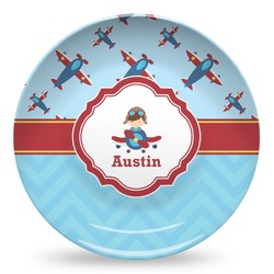 Airplane Theme Microwave Safe Plastic Plate - Composite Polymer (Personalized)