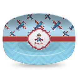 Airplane Theme Plastic Platter - Microwave & Oven Safe Composite Polymer (Personalized)